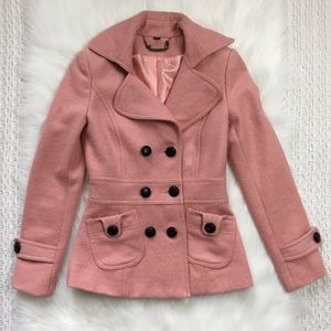 Light Pink Pea Coat Brown Buttons Size Small